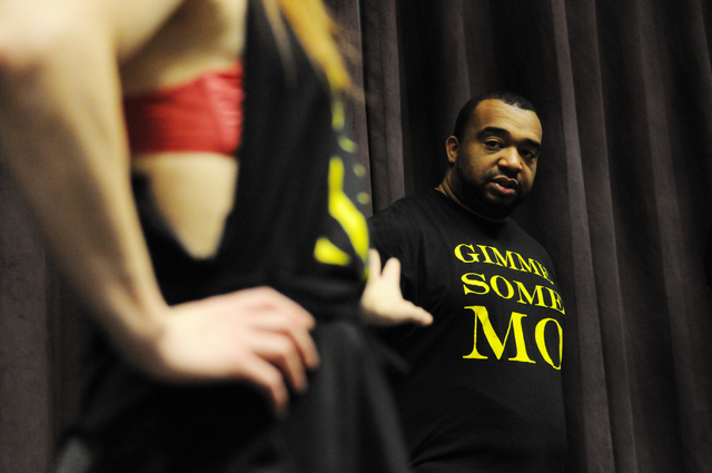 Antwan Davis, right, vice president of Molodi, is seen on stage during a rehearsal for their upcoming show at Inspire Theater in Las Vegas Monday, March 10, 2014. The show scheduled for March 13 b ...
