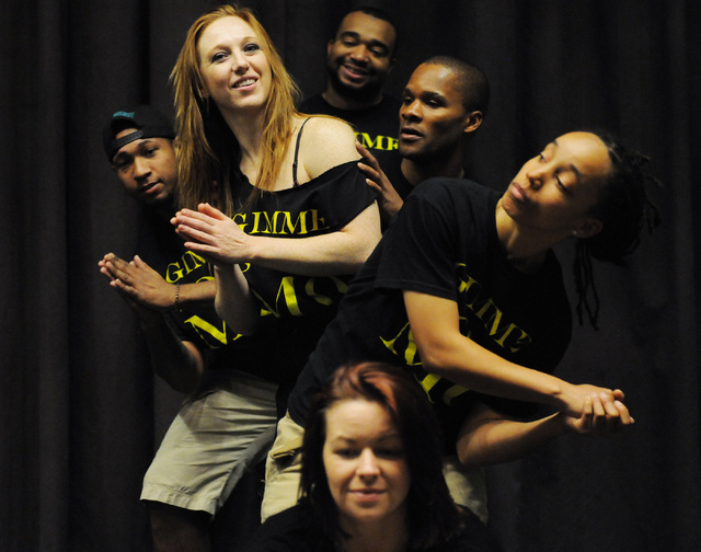 Harmony Costa, front to back, Angie Freeman, Elaine Alcorn, Jason Nious, Jay R Beatbox, and Antwan Davis, rehearse for their upcoming show at Inspire Theater in Las Vegas Monday, March 10, 2014. T ...