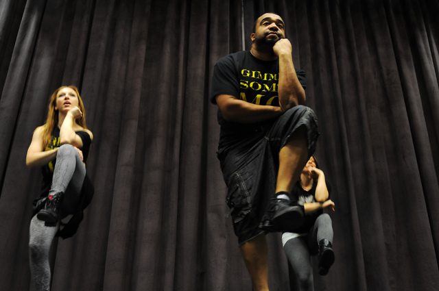 Elaine Alcorn, Antwan Davis and Harmony Costa, members of Molodi, rehearse for their upcoming show at Inspire Theater in Las Vegas Monday, March 10, 2014. The show scheduled for March 13 by the st ...