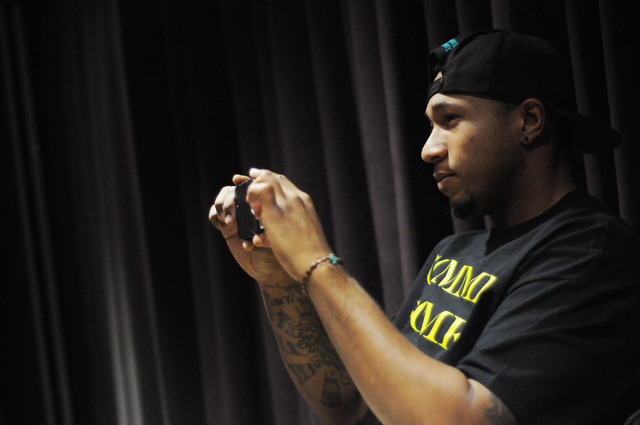 Jay R Beatbox takes a photo of his fellow cast members during a Molodi rehearsal for their upcoming show at Inspire Theater in Las Vegas Monday, March 10, 2014. The show scheduled for March 13 by  ...