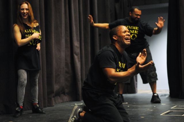 Elaine Alcorn, from left, Jason Nious, and Antwan Davis, members of Molodi, rehearse for their upcoming show at Inspire Theater in Las Vegas Monday, March 10, 2014. The show scheduled for March 13 ...