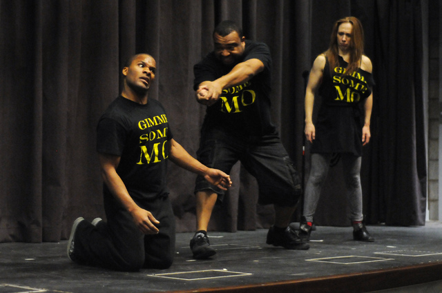 Jason Nious, from left, Antwan Davis, and Elaine Alcorn, members of Molodi, rehearse for their upcoming show at Inspire Theater in Las Vegas Monday, March 10, 2014. The show scheduled for March 13 ...