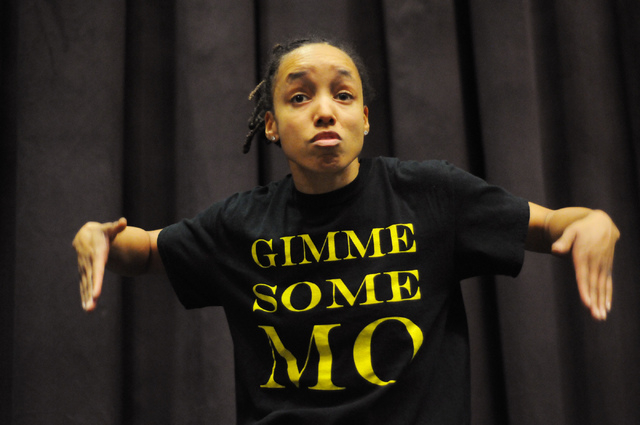 Angie Freeman, member of Molodi, rehearses for their upcoming show at Inspire Theater in Las Vegas Monday, March 10, 2014. The show scheduled for March 13 by the step percussion group will be coll ...