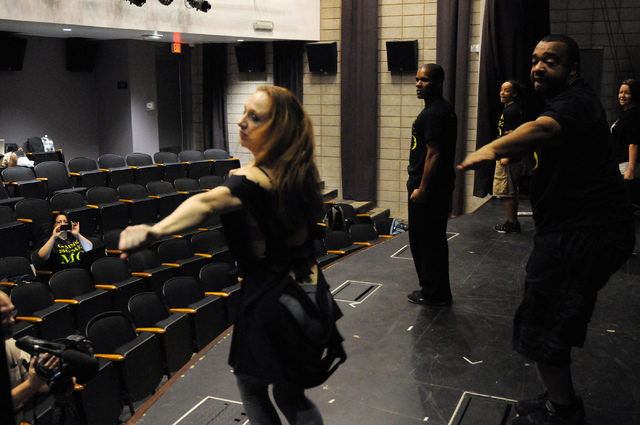 Members of Molodi rehearse for their upcoming show at Inspire Theater in Las Vegas Monday, March 10, 2014. The show scheduled for March 13 by the step percussion group will be collecting new socks ...