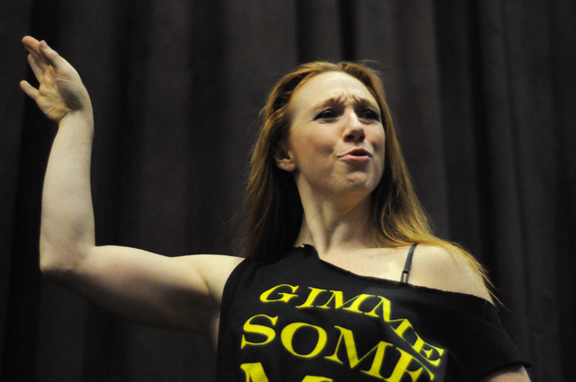Elaine Alcorn, member of Molodi, rehearses for their upcoming show at Inspire Theater in Las Vegas Monday, March 10, 2014. The show scheduled for March 13 by the step percussion group will be coll ...