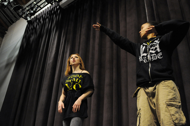 Elaine Alcorn, left, and Angie Freeman, members of Molodi, rehearse for their upcoming show at Inspire Theater in Las Vegas Monday, March 10, 2014. The show scheduled for March 13 by the step perc ...