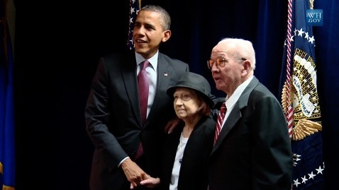 President Barack Obama congratulates Theresa and Will Faiss in March 2012 for being named Longest Married Couple in America. They had been married 79 years. Will Faiss served two terms in the Neva ...