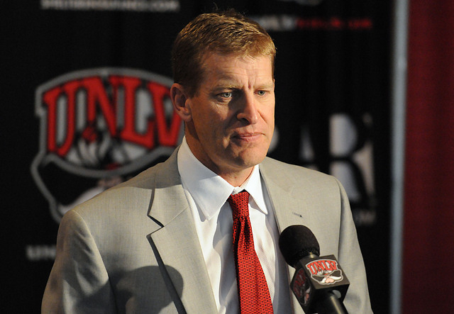 UNLV head football coach Bobby Hauck is shown at a news conference at the Thomas & Mack Center on Feb. 5. UNLV might fall short of the minimum academic standard to be eligible for a bowl appearanc ...