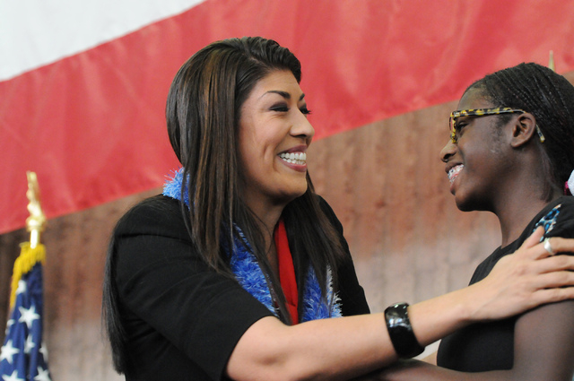 Assemblywoman Lucy Flores greets 11-year-old supporter Shania Washington following her candidacy announcement for lieutenant governor of Nevada during an event at the College of Southern Nevada's  ...