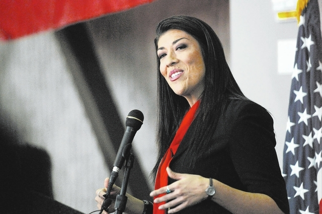 Assemblywoman Lucy Flores announces her candidacy for lieutenant governor of Nevada during an event at the College of Southern Nevada's Cheyenne campus in North Las Vegas Saturday, March 1, 2014.  ...