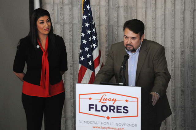 Professor Sergio Guzman introduces his former student Assemblywoman Lucy Flores during her candidacy announcement for lieutenant governor of Nevada during an event at the College of Southern Nevad ...