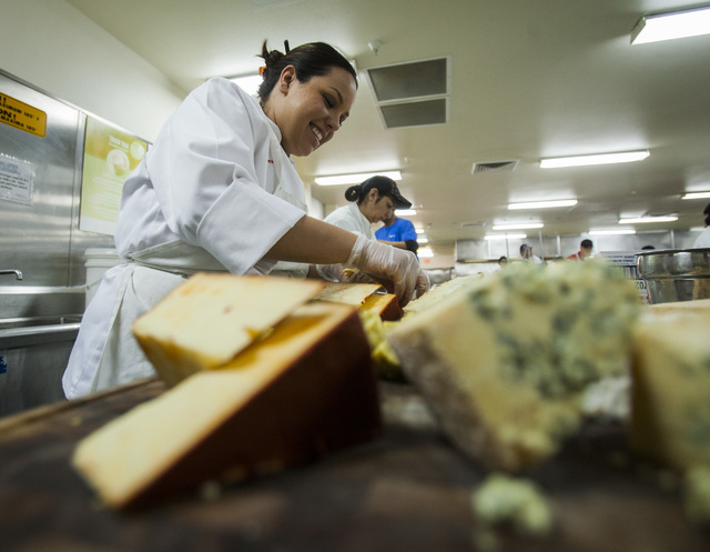 A chef with Levy Restaurants makes a cheese platter in the Levy Restaurants kitchen at Las Vegas Motor Speedway on Thursday, getting ready for this weekend's NASCAR events. (Jeff Scheid/Las Vegas  ...
