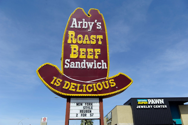 A general view of the marque sign in front of Arby's restaurant is seen at 315 S. Decatur Blvd. on Friday, March 28, 2014. (David Becker/Las Vegas Review-Journal)