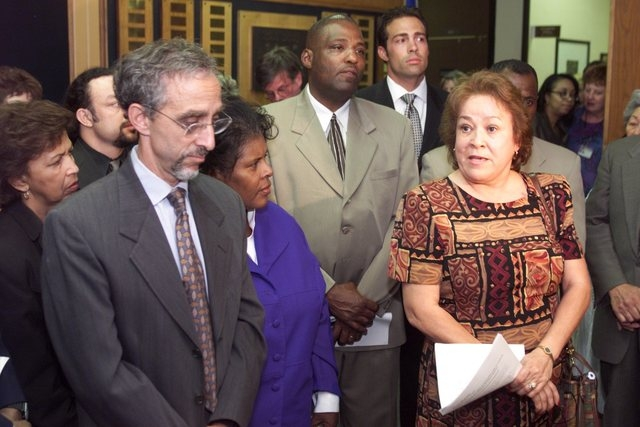 Priscilla Rocha, a program director with the Clark County School District, has been suspended, according to district officials. Rocha is shown at right in this Aug. 10, 2000, file photo, taken whe ...