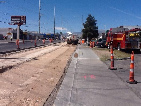 The Las Vegas Fire Department was on the scene Monday of a gas leak in the 5000 block of Vegas Drive, between Decatur Boulevard and Michael Way. (Courtesy/Las Vegas Fire Dept.)