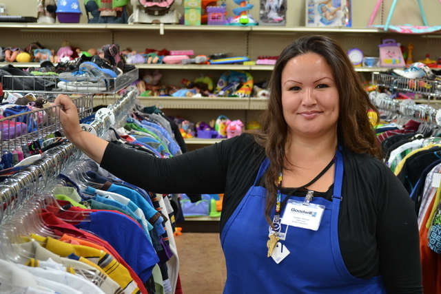 Candace Psomas, 31, works during her shift at Goodwill of Southern Nevada's new retail store and donation center, 7420 S. Rainbow Blvd. Psomas was hired in December after recovering from a 19-year ...