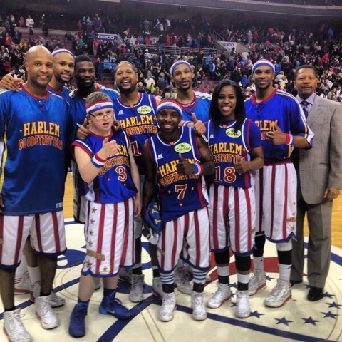 Special needs student Kevin Grow, front left, suited up with the Harlem Globetrotters Monday night in Philadelphia and played the entire third quarter. (Courtesy/@Globies/Twitter)
