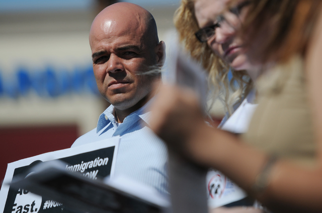 Immigration Reform for Nevada supporter Robert Telles is seen during a fasting event outside of the office of U.S. Rep. Joe Heck, R-Nev., in protest of the Congress not taking action on a comprehe ...