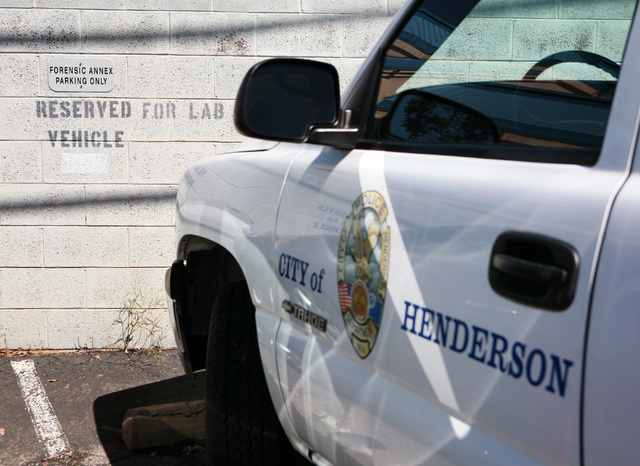 A City of Henderson truck is parked at the Forensic Annex Criminalistics Bureau, located at 222 Lead Street, Monday, March 31, 2014, in Henderson. Henderson City Council is slated to discuss the a ...