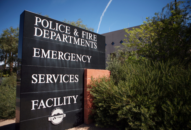 A sign is shown outside the Henderson Police Department Monday, March 31, 2014, in Henderson. Henderson City Council is slated to discuss the approval of a $70,000 contract Tuesday that will evalu ...