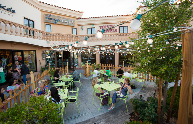 Patrons dine in the patio area at Honey Salt, 1031 S. Rampart Blvd. in Las Vegas on Friday, May 24, 2013. (Chase Stevens/Las Vegas Review-Journal)
