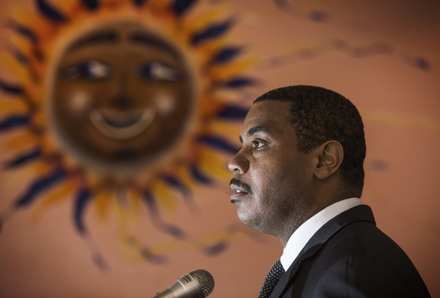 U.S. Rep. Steven Horsford, D-Nev.,  speaks during the Hispanics in Politics breakfast at Dona Maria Tamales Mexican Restaurant on Wednesday. Horsford was able to get Thelma Martinez Soto, a victim ...