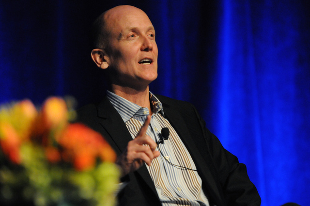 Debate moderator Steve Lipscomb, founder of World Poker Tour, speaks during a debate on the legalization of internet gaming between Mitch Garber, CEO at Caesars  Acquisition Co. and Caesars Intera ...