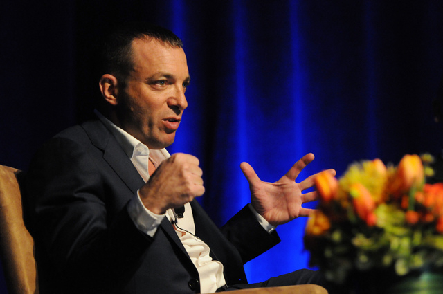Mitch Garber, CEO at Caesars Acquisition Co. and Caesars Interactive Entertainment, speaks during a debate on the legalization of internet gaming during the fourth annual iGaming North America eve ...