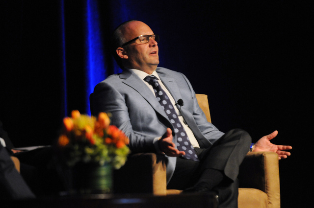 Andy Abboud, vice president of Government Relations at Las Vegas Sands Corp., speaks during a debate on the legalization of internet gaming during the fourth annual iGaming North America event at  ...