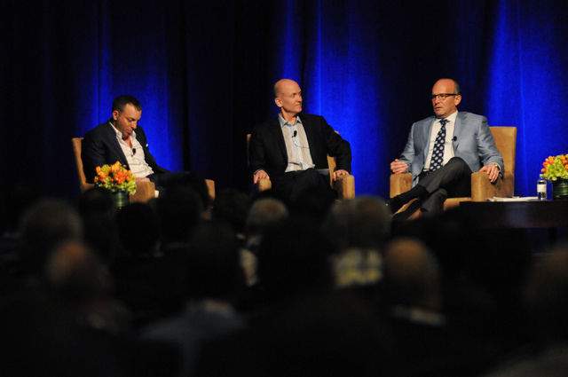 Mitch Garber, from left, CEO at Caesars  Acquisition Co. and Caesars Interactive Entertainment, debate moderator Steve Lipscomb, founder of World Poker Tour, and Andy Abboud, vice president of Gov ...