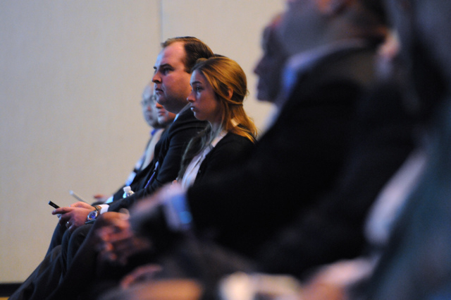 Audience members listen to a debate between Mitch Garber, CEO at Caesars  Acquisition Co. and Caesars Interactive Entertainment and Andy Abboud, vice president of Government Relations at Las Vegas ...