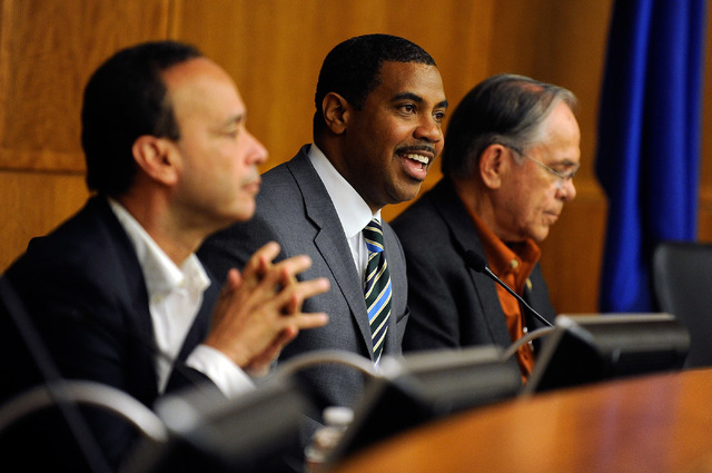 Rep. Luis Gutierrez, D-Ill., left, Rep. Steven Horsford, D-Nev., and Ruben Hinojosa, D-Texas, attend a congressional ad-hoc hearing on immigration, detention and deportation at the North Las Vegas ...