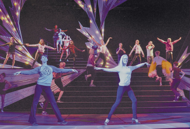"""Cast members from """"Jubilee!"""" dance during a rehearsal at the Jubilee Theater in Bally's. (Bill Hughes/Las Vegas Review-Journal)"""