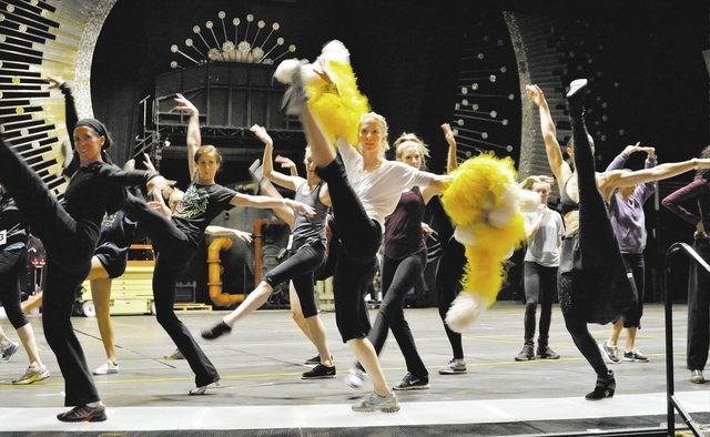 """Cast members walk through some moves during a rehearsal for """"Jubilee!"""" at the Jubilee Theater in Bally's. The show plans a grand reopening March 29. (Bill Hughes/Las Vegas Review-Journal)"""