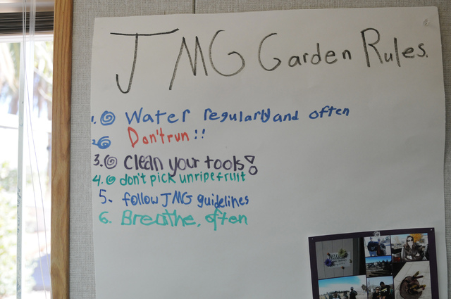 Garden rules are seen posted during a Cooperative Extension's Junior Master Gardener program class at the Clark County Center for Urban Food Production in Las Vegas Saturday, March 1, 2014. (Erik  ...