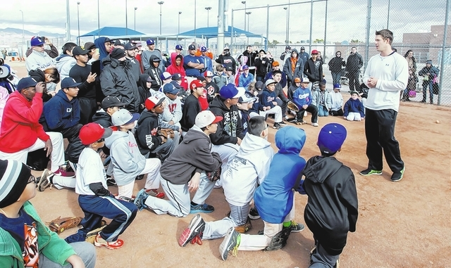 Cy Young Award-winning pitcher Clayton Kershaw speaks to members of the Las Vegas Junior Giants during a December baseball clinic with The Venetian and The Palazzo. The Junior Giants is a free, no ...