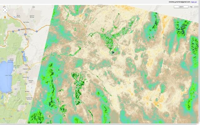 Landsat 8 derived map of plant water use (ET) for the Yerington and Fallon area.  Blue and green indicate high ET, where tan and brown indicate low ET. (Courtesy, Deseret Research Institute)