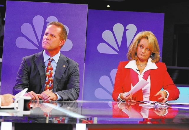 """Republican lieutenant governor candidates Mark Hutchison, left, and Sue Lowden appear during a televised debate on the """"Ralston Reports"""" program at the KSNV television studio on Monday,  ..."""