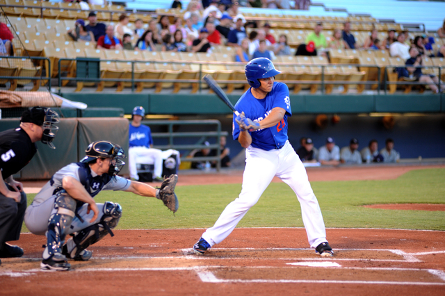 Las Vegas 51's catcher, Travis d'Arnaud, center, bats during their game against the New Orleans Zephyrs, at Cashman Field, in Las Vegas, Monday, August 12, 2013. d'Arnaud is expected to be called  ...