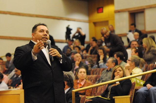 Jay Matos, business specialist, speaks during a public meeting on a new ordinance that would allow dispensaries for medical marijuana in Clark County during an open meeting at the Clark County Gov ...