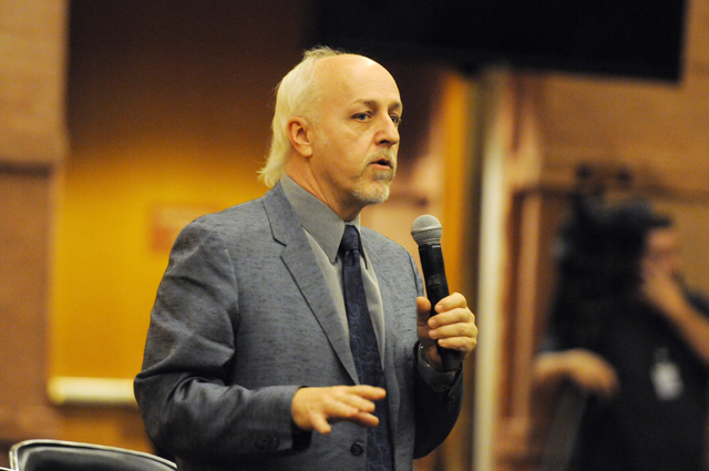 Michael McAuliffe, political outreach director of marijuana patient advocate group WECAN, speaks in favor of a new ordinance that would allow dispensaries for medical marijuana in Clark County dur ...