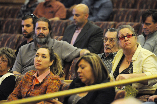 Attendees listen during  a public meeting on a new ordinance that would allow dispensaries for medical marijuana in Clark County at the Clark County Government Center in Las Vegas Wednesday, March ...