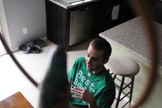 Keith Patton, a medical marijuana patient, is interviewed at his home in Las Vegas Thursday, March 20, 2014. Patton claims to suffer from migraines, dizziness and vomiting without his medication a ...