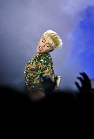 Miley Cyrus performs at the MGM Grand Garden Arena at 3799 Las Vegas Blvd., South, on Saturday, March 1, 2014. (Bill Hughes/Las Vegas Review-Journal)