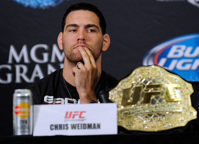 UFC middleweight champ Chris Weidman was to fight Lyoto Machida at UFC 173 on May 24 at MGM Grand. The fight is now expected to headline UFC 175 on July 5 at Mandalay Bay. (David Becker/Las Vegas  ...