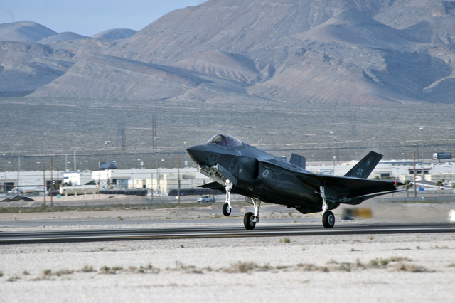 3/6/2013 - A Lockheed Martin F-35 Lightning II lands at Nellis Air Force Base, Nev., March 6, 2013. The aircraft will be assigned to the 422nd Test and Evaluation Squadron and the aircraft will be ...