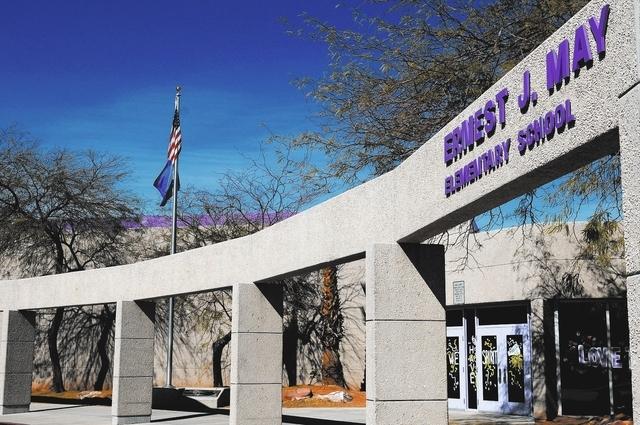May Elementary School in Las Vegas is seen Friday, Feb. 21, 2014. The school's name is dedicated to Ernest J. May, the first Las Vegas police officer to die in the line of duty. (Erik Verduzco/Las ...