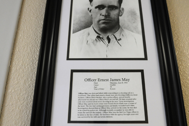 A framed photo of Ernest J. May, the first Las Vegas police officer to die in the line of duty, is seen at May Elementary School in Las Vegas Friday, Feb. 21, 2014. (Erik Verduzco/Las Vegas Review ...