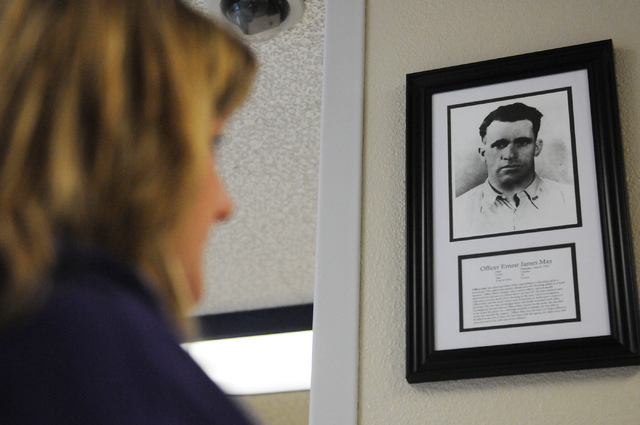 Bridget Leatherman, principal at May Elementary School in Las Vegas, talks about a photo of Ernest J. May, the first Las Vegas police officer to die in the line of duty and who the school's name i ...