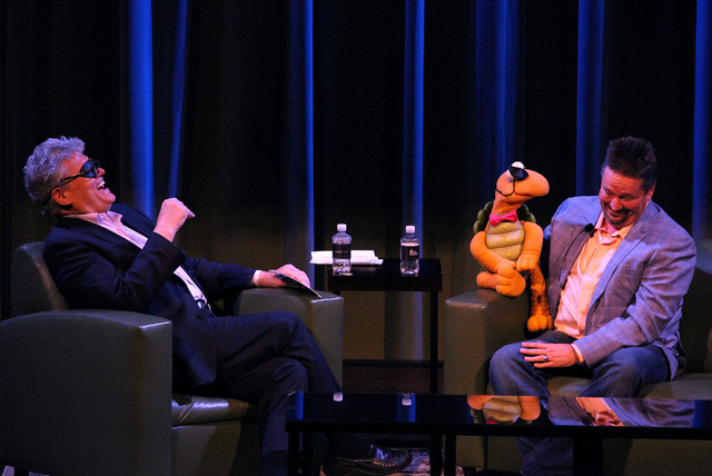"""Las Vegas Review-Journal Columnist Norm Clarke, left, interviews Strip headliner Terry Fator during the first """"Conversations with Norm"""" in the Cabaret Jazz Theater at the Smith Center on Sunday. ( ..."""